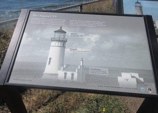 Ilwaco, Waszyngton: Info. Sign, North Head Lighthouse, Cape Disappointment, Ilwaca, Washington