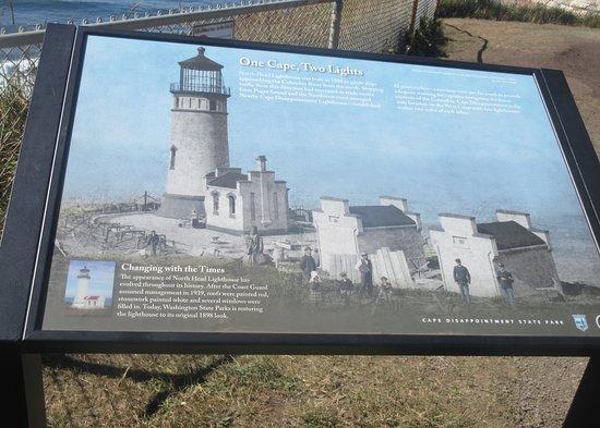 Ilwaco, Waszyngton: Info Sign, North Head Lighthouse, Cape Disappointment, Ilwaca, Washington