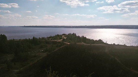 Permsky District, Ρωσία: Мыс Стрелка. Слияние рек - Кама и Чусовая.