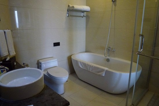 Kashi, Chine : Our bathroom - it has a glassed in shower as well as the shower head over the bath