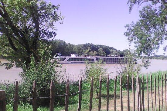 Lestiac-Sur-Garonne, Francja: Au fil de l'eau des voyageurs glissent paisiblement sur la Garonne