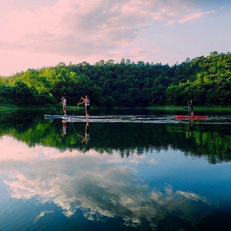 Lashio, Myanmar: Paddleboarding near sunset