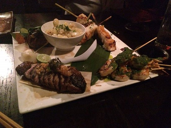 Sushisamba : Duck breast, Filet mignon, sea bass and shrips (going clock wise)
