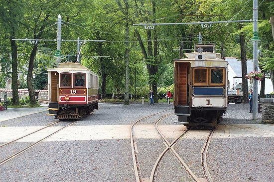 Douglas, UK: Manx Electric Railway and Snaefell Mountain Railway at Laxey.