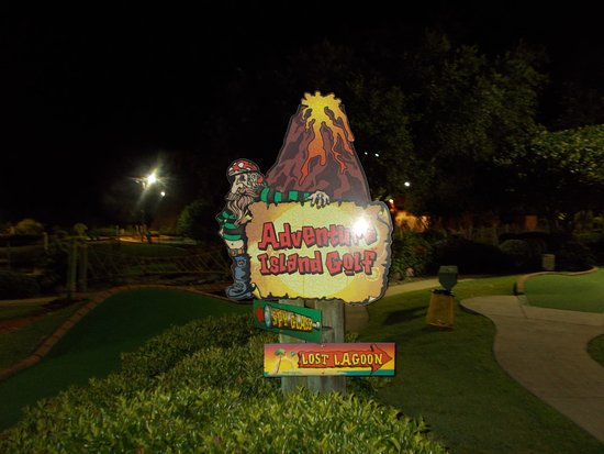 Adventure Island Sign Showing The Two Diffe Courses
