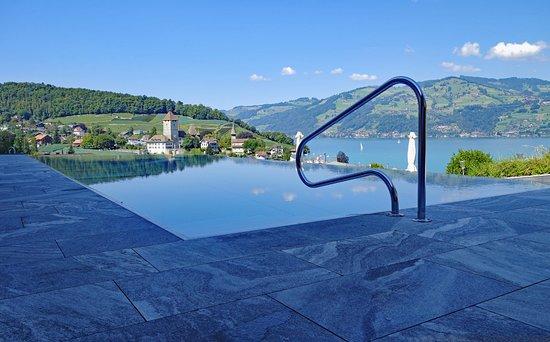 Grandioser Aussen-Pool hoch über der Seebucht von Spiez