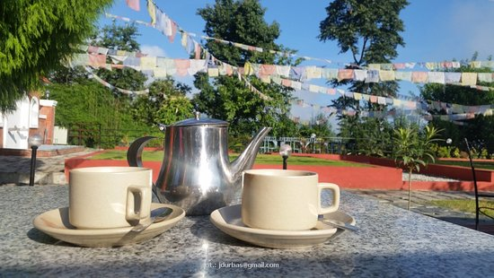 Balthali, Nepal: a cup of tea on terrace