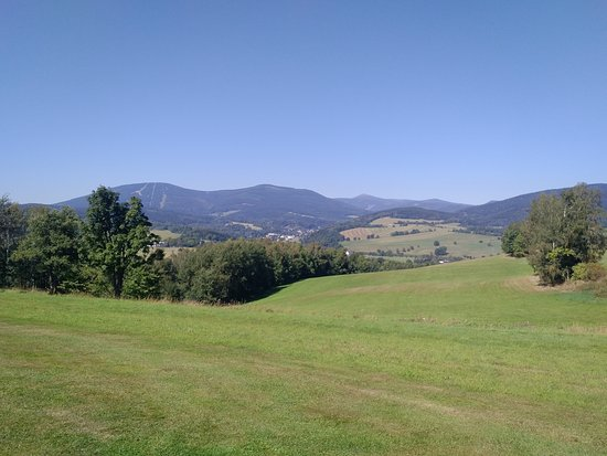 Grund Resort: View of the Krkonose mountains and Snezka from the golf course