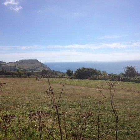 Charmouth, UK: Looking towards Golden Cap and Portland Island