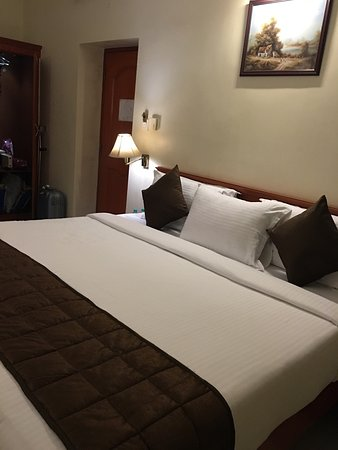 Raj Palace Sundar: Clean and cosy room with a welcome fruit basket! A pleasant surprise indeed!