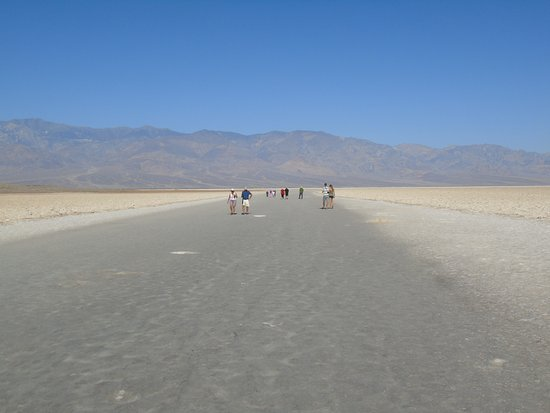 Badwater: Strolling out onto the salt plain at Badwater.