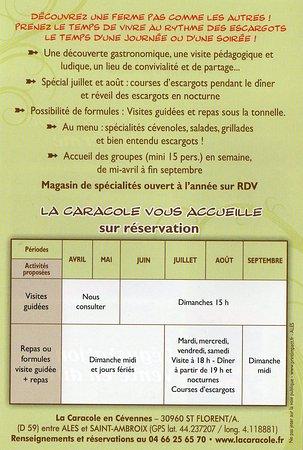 Saint-Florent-sur-Auzonnet, France : Horaires d'ouverture de La Caracole
