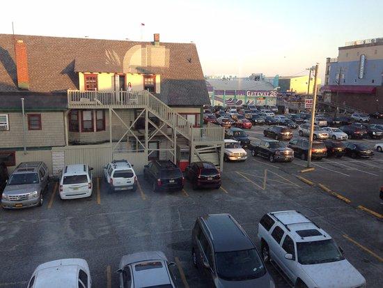 Surf Motel: View of boardwalk from back window
