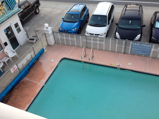 Surf Motel: View of pool from front window