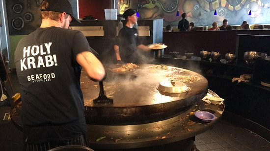 HuHot Mongolian Grill: Mongolian barbecue.  Go through buffet, pick items you would like.
