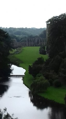 Fountains Abbey and Studley Royal Water Garden: view from the top path looking back at the abbey