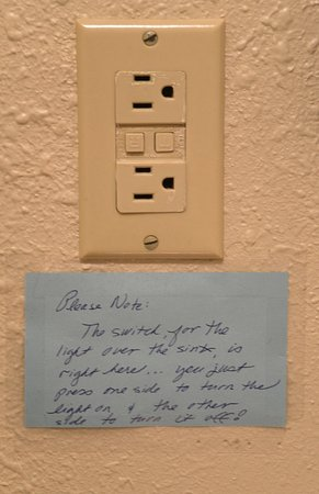 Note On Electrical Outlet Above Bathroom Sink Onoff Switch Is