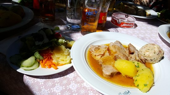 Gmunden, Austria: Lunch at Hois'n Wirt Restaurant, Traunsee; Roasted Pork with Dumplings and a Mixed Salad