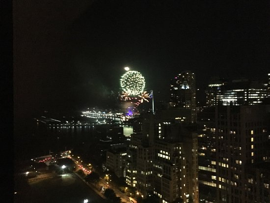 The Ritz-Carlton, Chicago: Full moon and fireworks line up from my room overlooking the Navy Pier.