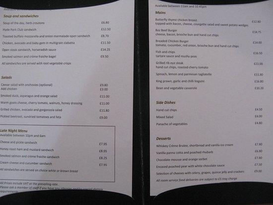 โรงแรมโครัสไฮด์ปาร์ค ลอนดอน: Room service menu