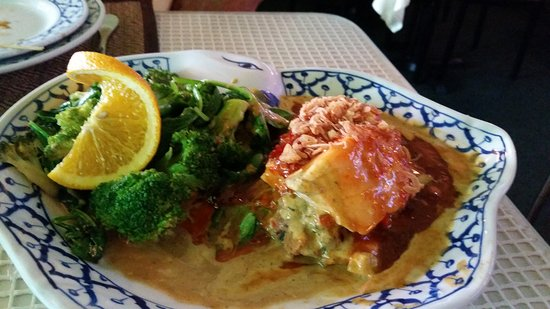 Voorhees, NJ: Fantasy salmon swimming in sauce with limp broccoli