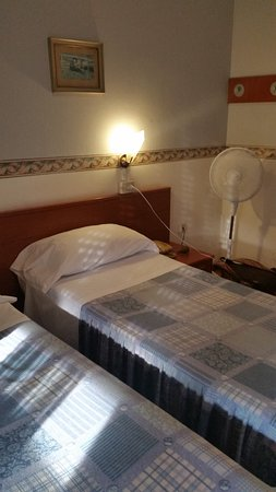 Hotel Arno: Comfy room with standing fan.