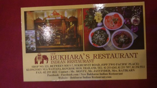 New Bukharas Indian Restaurant Carte De Visite