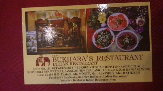 New Bukharas Indian Restaurant Carte De Visite