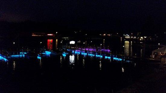 Laconia, NH: Dock lights up at night...