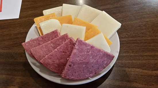 Monroe, WI: Cheese platter and salami