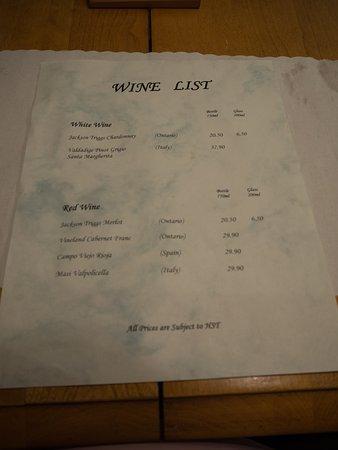 Port Loring, Canadá: wine list