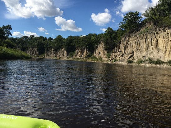 Red Lake Falls, MN: Cliffs along the river - nesting birds have their homes in these cliffs