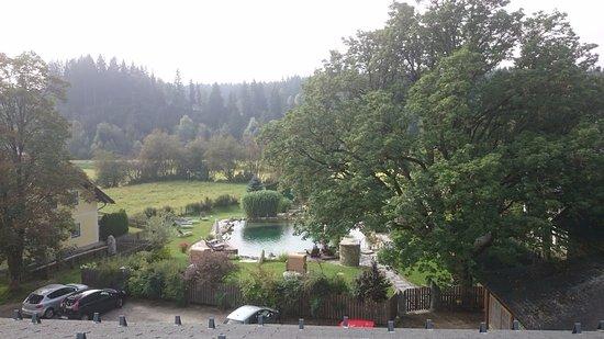 Tamsweg, Østrig: Blick vom Zimmer auf den beheizten Schwimmteich