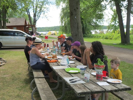 Ingleside, Canadá: 3 picnic tables for 22 members of the family in front of our cabin