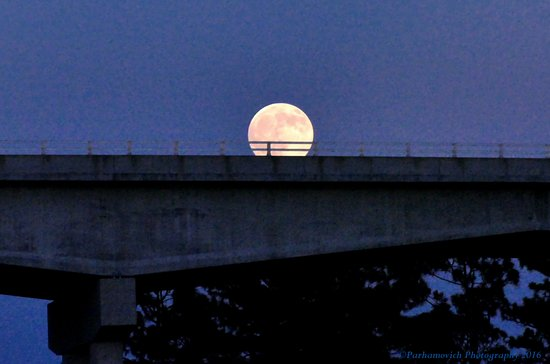 Southport, NC: Moon Rise over GV Barbee Bridge