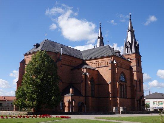 Rezekne, Letonia: Blick auf die Kathedrale vom Bischofpalast aus
