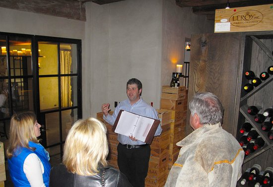 Walland, TN: Sommelier, Jason Drotar, Conducting Wine Tasting in the Wine Room Below The Barn