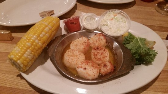 Voorhees, NJ: Broiled scallops with ear of fresh corn