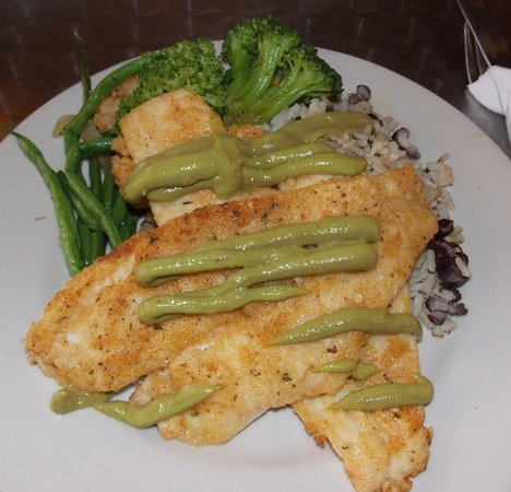 Briarcliff Manor, NY: Pan seared Flounder served over a bed of Wild Grain Rice with Avocado Cream and Broccoli