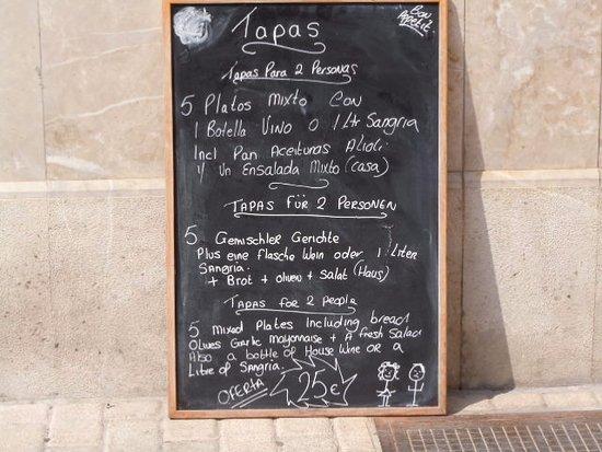 Son Servera, España: Oferta tapas del día
