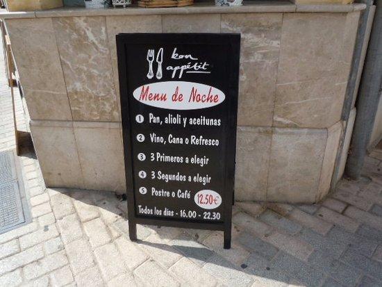 Son Servera, España: Menú de la noche 12,50€