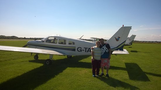 Burton upon Trent, UK: My son and grandson before our trial flight from Tatehill