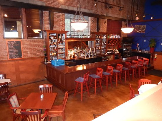 Madison, GA: This was taken from the upper level looking down on their beautiful bar.