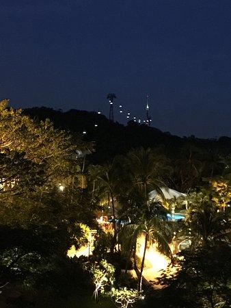 Shangri-La's Rasa Sentosa Resort & Spa: Cable car coming virtually to the hotel