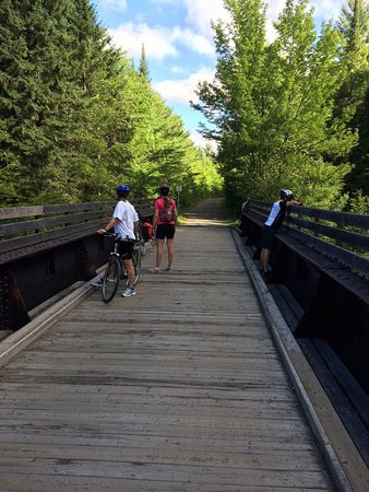 Parc Lineaire le P'tit Train du Nord: One of several old railway bridges on the path