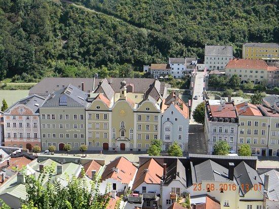 Burghausen, Tyskland: vista dalle mura del castello