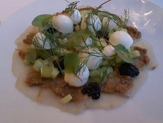 Restaurant & Bar Lof: Hamashi carpaccio rhubarbe sésame etc... 17€