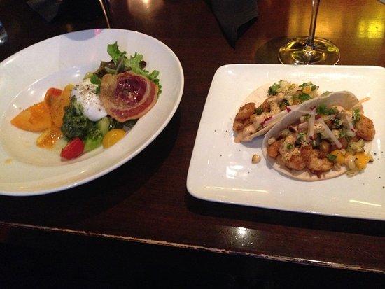 Walter's: Caprese salad & Shrimp Taco