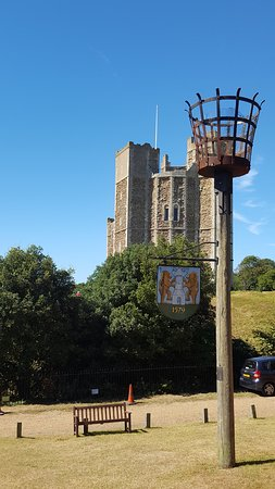 Orford, UK: View of castle walking up from Market Hill