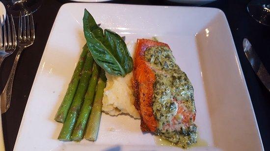 Nirvana Grille - Laguna Beach: BASIL AÏOLI BROILED STEELHEAD SALMON oven broiled basil aioli salmon, sautéed asparagus with lem